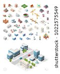 build your own isometric city . ... | Shutterstock .eps vector #1022575549