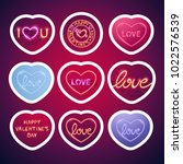 valentines glowing neon signs... | Shutterstock .eps vector #1022576539