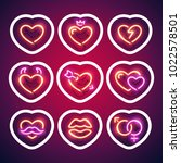valentines glowing neon hearts... | Shutterstock .eps vector #1022578501