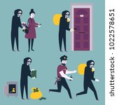 set of situations. thief ... | Shutterstock .eps vector #1022578651