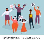 women and men protesters with... | Shutterstock .eps vector #1022578777