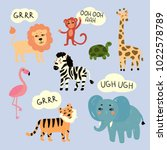 vector illustration of wild zoo ... | Shutterstock .eps vector #1022578789