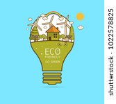 vector illustration of eco home ... | Shutterstock .eps vector #1022578825