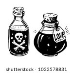bottles with potions. poison... | Shutterstock .eps vector #1022578831