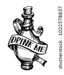 bottle with potion. drink me.... | Shutterstock .eps vector #1022578837