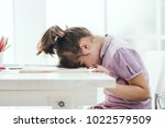lazy student girl at home  she... | Shutterstock . vector #1022579509