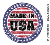 made in usa red and blue rubber ... | Shutterstock .eps vector #1022580001