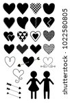 vector set of love symbols | Shutterstock .eps vector #1022580805