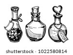 bottles with potions. poison... | Shutterstock .eps vector #1022580814