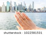 young woman's hand with diamond ... | Shutterstock . vector #1022581531