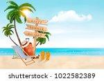 seaside vacation vector. travel ... | Shutterstock .eps vector #1022582389