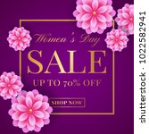 women's day sale banner with...   Shutterstock .eps vector #1022582941