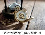 vintage pocket watch and hour... | Shutterstock . vector #1022588401