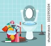 cleaning service concept.... | Shutterstock .eps vector #1022592034