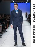 Small photo of New York, NY - February 7, 2018: Alex Lundqvist wearing jacket by Stephen Ferber walks runway for Blue Jacket Fashion Show to benefit Prostate Cancer Foundation at Pier 59