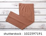 female beige trousers  top view.... | Shutterstock . vector #1022597191