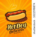 american hot dog  fast food... | Shutterstock .eps vector #1022598874