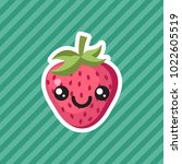 cute kawaii smiling strawberry...   Shutterstock .eps vector #1022605519