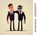 office worker man and robot... | Shutterstock .eps vector #1022606317