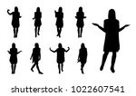 vector silhouettes of gesturing ... | Shutterstock .eps vector #1022607541