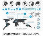 world map and 3d globe set with ... | Shutterstock .eps vector #1022610091