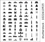 residence and building icons set | Shutterstock .eps vector #1022613925