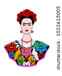 frida kahlo vector portrait... | Shutterstock .eps vector #1022615005