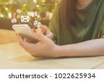 woman hand using mobile phone... | Shutterstock . vector #1022625934