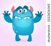 Cute Furry Blue Monster. Vecto...