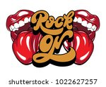 rock on. vector handwritten... | Shutterstock .eps vector #1022627257