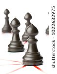 chess pawn figures connected by ... | Shutterstock . vector #1022632975
