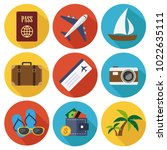 travel flat icons in set... | Shutterstock .eps vector #1022635111