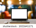 laptop with blank screen and... | Shutterstock . vector #1022641171