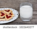heart cookies in a plate with... | Shutterstock . vector #1022643277
