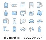 travel icon set. included the... | Shutterstock .eps vector #1022644987