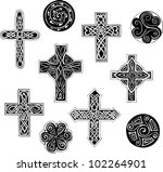 Celtic Knot Crosses And Spiral...