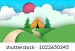 cartoon paper landscape. tent ... | Shutterstock .eps vector #1022650345