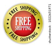 red free shipping badge with... | Shutterstock . vector #1022651971