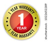 red 1 year warranty badge with... | Shutterstock . vector #1022652289