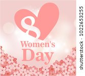 8 womens day pink heart flower... | Shutterstock .eps vector #1022653255
