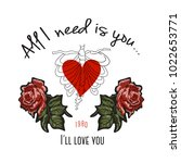 i'll love you slogan with heart ... | Shutterstock .eps vector #1022653771