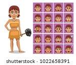 caveman family teenage girl... | Shutterstock .eps vector #1022658391