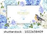 Stock vector vector horizontal frame with blue hydrangea flowers and bird 1022658409