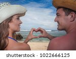 portrait of happy couple  at... | Shutterstock . vector #1022666125