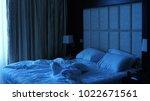 crumpled bed. night   Shutterstock . vector #1022671561