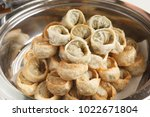dumplings on a wooden bowl   Shutterstock . vector #1022671804
