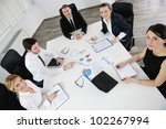 group of happy young  business... | Shutterstock . vector #102267994
