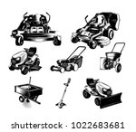 set of landscaping tools on... | Shutterstock .eps vector #1022683681