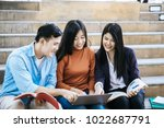 group students studying... | Shutterstock . vector #1022687791