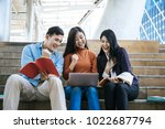 group students studying... | Shutterstock . vector #1022687794